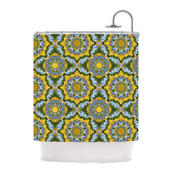 "Kess InHouse - Anneline Sophia ""Aztec Boho"" Yellow Blue Shower Curtain - Finally waterproof artwork for the bathroom, otherwise known as our limited edition Kess InHouse shower curtain. This shower curtain is so artistic and inventive, you'd better get used to dropping the soap. We're so lucky to have so many wonderful artists that you'll probably want to order more than one and switch them every season. You're sure to impress your guests with your bathroom gallery in addition to your loveable shower singing."