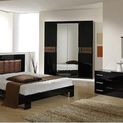 Made in Italy Leather High End Bedroom Furniture Sets - Italian made luxury full master bedroom set with brown accents. Experience pure sleeping pleasure with the Italian bed in Black and Brown.