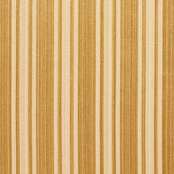 Gold Two Toned Stripe Metallic Sheen Upholstery Fabric By The Yard - This multipurpose fabric is great for residential upholstery, bedding and drapery. This material is woven for enhanced elegance. The sheen of this material varies depending on the light for a unique appearance.