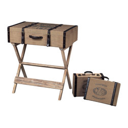 """Sterling Industries - Sterling Industries 89-8010/S3 """"Les Tulips"""" Linen Covered Travelling Chest on St - Chest (1)"""