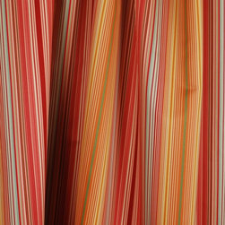 Waverly - Waverly Serene Stripe Papaya Drapery Fabric By The Yard - Waverly Serene Stripe in the colorway Papaya is a cotton drapery fabric with a horizontal repeat of 13.5 inches. Red, orange, blue and a little green this multi striped fabric is great for pillow, bedding, window treatment and craft projects.
