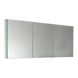 """Fresca - Fresca 60"""" Wide Bathroom Medicine Cabinet w/ Mirrors - This 60"""" medicine cabinet features mirrors everywhere.  The edges have mirrors and also on the interior of the medicine cabinet.  The inside features four tempered glass shelves.  Can be wall mounted or recessed into the wall."""