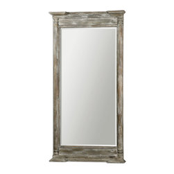 "Uttermost - Valcellina Wooden Leaner Mirror - Frame Is Made Of Weathered Wood Covered In A Distressed Ivory Gray Finish. Mirror Features A Generous 1 1/4"" Bevel. May Be Hung Horizontal Or Vertical."