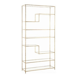 Arteriors - Worchester Bookshelf, Gold - This stylish asymmetrical bookshelf offers a terrific way to store and display your stuff. The textured iron frame features either a bright gold-leaf or natural iron finish and tiered glass shelves.