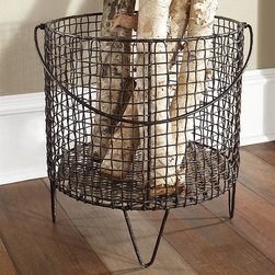 NONE - Large Iron Mesh Basket - For indoor or outdoot use,this basket makes a fun addition to any home decor s tyle. Iron wire and a woven design make this one of the strongest baskets you'll ever own