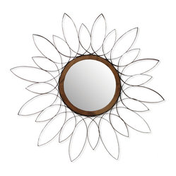 Palecek - Steel Daisy Mirror - Daisy pattern in flat steel with gemelina wood center. Chocolate tone finish. Triangle metal hanger