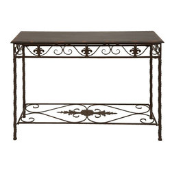Benzara - Metal Wood Console Classic Space Filler - Metal Wood Consol is made of quality alloy steel pipes with four linearly connected supports and metallic border frill and accents.