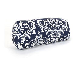 Majestic Home - Outdoor Navy Blue French Quarter Round Bolster - Bolster pillows add some fun shape variety to your throw pillow collection; they fit well into the corners of your couch or settee, and they make great neck support pillows. This one has a pretty, French-inspired print that would brighten up a couch, bench or lounger, and it's treated for outdoors so that you can use it on the deck. The cover can also be removed for easy cleaning. Try it with some white wicker furniture.