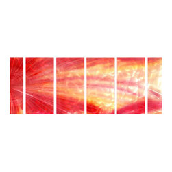 Pure Art - Colors of Drama Metal Wall Art Set of 6 - Dramatic colors with a shattering effect will leave you lingering with thought. This gorgeous six panel metal wall hanging group is ideal for a larger wall in any area of the home. Grouping is easy to secure to walls with welded brackets secured to the back of each panel in the group. Panels have been hand-painted and add zest to any decor styleMade with top grade aluminum material and handcrafted with the use of special colors, it is a very appealing piece that sticks out with its genuine glow. Easy to hang and clean.