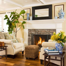 Traditional  Stacked Stone Fireplace with Wood Mantel