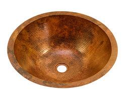 "Artesano Copper Sinks - Flat Rim Round Bathroom Copper Sink - Flat Rim Round Bathroom Copper Sink 17 x 6"" for Undermount installation, 1"" rim, all hand made, all copper, all hammered"