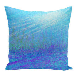 e by design - Seahorse Turquoise and Purple 16-Inch Cotton Decorative Pillow - - Decorate and personalize your home with coastal cotton pillows that embody color and style from e by design  - Fill Material: Synthetic down  - Closure: Concealed Zipper  - Care Instructions: Spot clean recommended  - Made in USA e by design - CPC-N2-Fondo_De_Mar-16