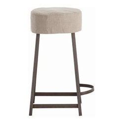 Arteriors - Arteriors Rochefort Iron, Wood, and Linen Stool - Natural Iron and Natural Linen with removable slipcover. Available as a counter stool or bar stool.