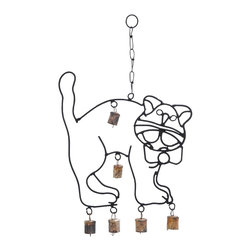 """Cute Wind Chime with A Cat Design - This Cute Metal Wind Chime with a Cat Design (18"""") is an aesthetic showpiece to fawn over. It comes shaped like a cute cat and is perfect to hang at your bedroom window. Complete with a beautiful bow around its neck and a bewildered expression that is a trademark of cats, this metal wind chime looks wonderful even in children?s bedrooms. It is an example of ingenious craftsmanship with the seamless metal structure almost emulating a real cat. This unique wind chime has bells suspended from metal links around the cat?s paws and body. With the flows of breeze through your home, these bells will gently tinkle spreading a soothing sound through your home that is so peaceful and calming. Crafted from metal, this wind chime is still totally rustproof and weathers the adverse climatic effects with gusto. /li>. It comes with a dimension:"""