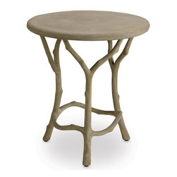 Currey and Company - Currey and Company Hidcote Traditional Side Table X-3732 - The traditional technique of faux bois involves hand-applying concrete over a metal mesh frame.