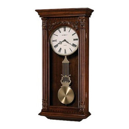 HOWARD MILLER - Howard Miller Greer Decorative Chime Wall Clock - This wall clock offers a decorative overlay above the arched glass. Dentil molding accents the pediment and base.