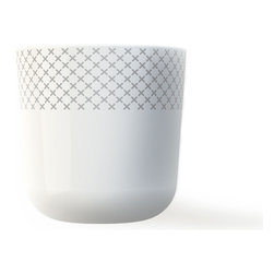 MENU - Thermo cup, Grey Stitch - Escape the daily grind — enjoy a cup of your favorite hot beverage. Designed by Danish ceramist Gry Frager, this attractive porcelain cup features a traditional cross-stitch design. Stare at the pattern and you'll soon be lost in thought.