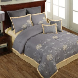 Victoria Classics Mayflower 8 Piece Comforter Set - Fresh and sophisticated, the Victoria Classics Mayflower 8 Piece Comforter Set is a great way to update your bedroom. This comprehensive comforter set includes the comforter, two pillow shams, two Euro pillow shams, a bedskirt, and two decorative pillows. Its embroidered floral design in gray and yellow add modernity. Its soft polyester adds comfort. This set is machine-washable and comes in your choice of size.