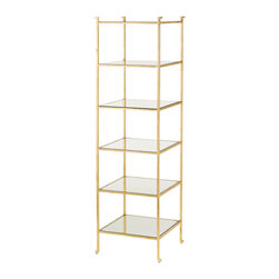 Currey & Co - Currey & Co 4131 Delano Gold Leaf Narrow Etagere - This elegant five-shelf unit is ideal for maximizing storage space. The beautiful mirrored surfaces are scratch-resistant and allow for quick, easy cleaning. The Currey & Co 4131 Delano Gold Leaf Narrow Etagere has a stunning gold leaf finish, but it is gilded on over wrought iron to bring together both lasting strength and aesthetic appeal. At 21 inches on each side and 72 inches tall, the unit provides plenty of space without filling the room.