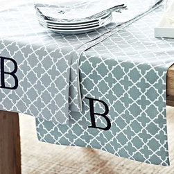 """Roz Tile Table Runner, 16 x 108"""", Smoke Gray - Freshen up the look of a kitchen or dining room effortlessly and affordably with our tile-printed, crisp cotton table runner. 18 x 108"""" Woven of pure cotton. Backed with cotton. Monogramming is available at an additional charge. Monogram is 3 inches high and will be centered at one end of the runner. Machine wash. Imported."""