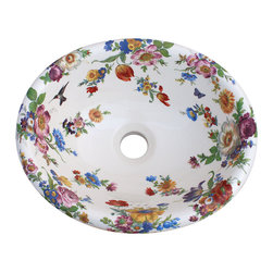 Decorated Porcelain Company - Scented Garden Hand Painted Sink - Walk into a fragrant garden every time you enter the bathroom. Colorful Dresden style floral includes tulips, poppies, roses, violets, morning glory, cornflower and many other flowers as well as a hummingbird and a butterfly. Shown on a white fluted drop-in basin. All of our fixtures are hand-made to order in the USA and kiln-fired for long-lasting durability.
