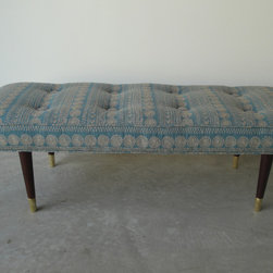 The Luxe Bench - The Luxe Bench is a restored mid-century bench, covered in Knoll Textiles Luxe fabric. Gorgeous intricate embroidery on a beautiful blue background.