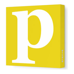 "Avalisa - Letter - Lower Case 'p'  Stretched Wall Art, 12"" x 12"", Dark Yellow - Spell it out loud. These lowercase letters on stretched canvas would look wonderful in a nursery touting your little one's name, but don't stop there; they could work most anywhere in the home you'd like to add some playful text to the walls. Mix and match colors for a truly fun feel or stick to one color for a more uniform look."
