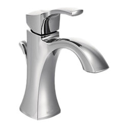 "Moen - Moen 6903 Voss Series Single-Handle Lavatory Faucet (Chrome) - This single-handle lavatory faucet features an aerated flow for everyday bathroom tasks, a lever-style handle for precise volume and temperature manipulation, a 1.5 GPM flow rate, a metal pop-up waste assembly, and an optional escutcheon for 3-hole installations. This model includes a 1255 Duralast cartridge, and flexible supply lines with 3/8"" comprssion fittings. This faucet is ADA compliant, and comes in a bright, Chrome finish."