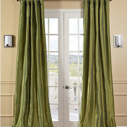 Half Price Drapes - Fern Faux Silk Taffeta Single Panel Curtain, 50 X 108 - - Defined by a unique sheen and fine weave, our exclusive faux silk taffeta curtain panels are gorgeous and timeless. They have a crisp smooth finish in brilliant shimmering colors. Color is a medium silver grey.   - Single Panel   - 3 Rod Pocket   - Corner Weighted Hem   - Pole Pocket with Back Tab & Hook Belt Attached. Can be hung using rings. (Not Included)   - Dry clean   - Taffeta 53% Polyester & 47% Nylon   - Lined with a cotton blend material  - 50x108   - Imported   - Green Half Price Drapes - PTCH-JTSP100-108