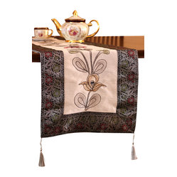 "Banarsi Designs - Hand Painted Deluxe 72-Inch by 17-Inch Table Runner - Bring artistic elegance and warmth to any room with the decorative ""Hand Painted Deluxe Table Runner"" from our Exclusive Banarsi Collection."