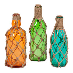 Imax - Modern Set of 3 Williams Glass Bottles with Jute Hangers Decor - Add a pop of color and texture to your room with the Williams Glass bottles. These brightly colored translucent Glass bottles are wrapped in jute hangers, stylishly contrasting textures and colors. Color is Multi. Material is 90% Glass, 10% Jute Rope.