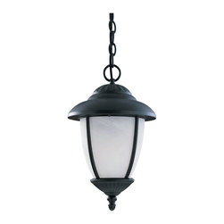 Sea Gull Lighting - Sea Gull Lighting 69248PBLE-12 Yorktowne Outdoor Pendant Light - One Light Outdoor Pendant Fixture in Black Finish with Swirled Marblelized Glass.