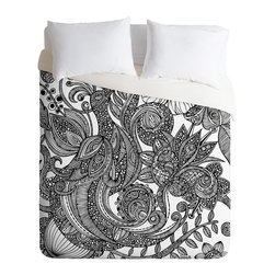 DENY Designs - Valentina Ramos Bird In Flowers Black White Duvet Cover - Turn your basic, boring down comforter into the super stylish focal point of your bedroom. Our Luxe Duvet is made from a heavy-weight luxurious woven polyester with a 50% cotton/50% polyester cream bottom. It also includes a hidden zipper with interior corner ties to secure your comforter. It's comfy, fade-resistant, and custom printed for each and every customer.