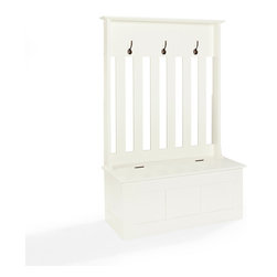 Crosley Furniture - Crosley Furniture Ogden Entryway Hall Tree in White - Clean up your busy entryway with the Ogden entryway storage bench.  This bench features hooks for hanging jackets and backpacks along with storage for shoes, scarves, mittens and hats.