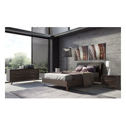 Bedroom Furniture - Modern bed with large head board.