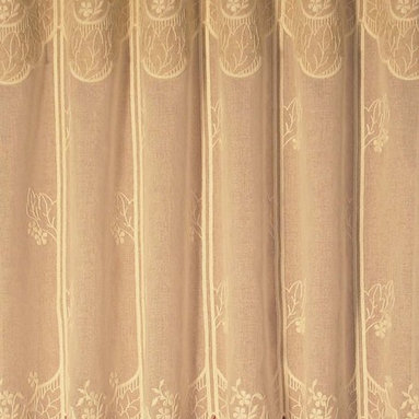 "Macrame Ring Lace - Verdana pattern - Embroidered Voile Lace from France.  Available in several lengths and ordered by the foot as wide as needed for Window Valance or Tier. The 12"" is $7.95 per foot  but it comes in lengths up to 47 1/2""."
