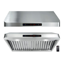 "AKDY - AKDY AG-Z1801 Under Cabinet Range Hood Stainless Steel Kitchen Vent Hood 900CFM, - This AKDY 1801 30"" under cabinet range hood removes cooking odors from your kitchen quickly using its 3-speed, 900 cfm centrifugal exhaust fan. The baffle filter helps eliminate grease from the air and is washable for easy cleanup. With remote control included, now you can control the range hood without much hassle. The gas sensor feature automatically powers the hood when leaking gas is detected within the premises. Model available in 30"", and 36""."