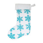 "artgoodies - Snowflake Felt Stocking - An original hand carved linocut block print by Lisa Price has been made into a repeating pattern and then printed onto felt made of 100% recycled plastic bottles and sewn into a holiday stocking just for you! A festive modern twist on a holiday classic! Measures about 15"" long."