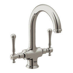 "Grohe - Grohe 31055EN0 Brushed Nickel Bridgeford Double Handle Bar Faucet from - Bridgeford Bar Faucet, Less Handles  Description  7"" Spout Reach GROHE SilkMove  Ceramic Cartridges Sold less handles Bridgeford Lever Handles 18 173 (sold separately) Bridgeford Cross Handles 18 733 (sold separately)"