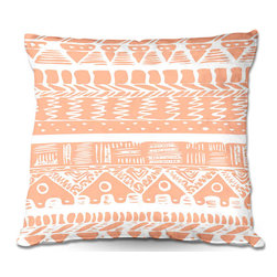 DiaNoche Designs - Pillow Woven Poplin by Organic Saturation - Boho Coral Aztec - Toss this decorative pillow on any bed, sofa or chair, and add personality to your chic and stylish decor. Lay your head against your new art and relax! Made of woven Poly-Poplin.  Includes a cushy supportive pillow insert, zipped inside. Dye Sublimation printing adheres the ink to the material for long life and durability. Double Sided Print, Machine Washable, Product may vary slightly from image.