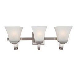 Design House - Torino Three-Light Satin Nickel Bath Light Satin Nickel - The sleek, angled lines of the glass shapes give the Torino ceiling fan an elegant, modern appearance  -Glass Shade(s) - May be mounted with the shades facing up or down Design House - 514760