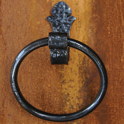 Hammered Hand-Forged Iron Towel Ring - This Hammered Hand Forged Iron Towel Ring will add a unique, Old World style to your bathroom.