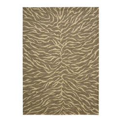 """Nourison - Nourison Riviera Chocolate Modern Zebra 3'6"""" x 5'6"""" Rug by RugLots - This is not your typical damask! Updated and contemporary in look and feel, the beauty of traditional damask shines though in muted and beautifully paired neutrals. Intricate details are highlighted by Nourison's signature Luxcelle fibers that attract and catch the light adding a lovely sheen. Sumptuously soft underfoot and texturally interesting, these rugs will enhance any room in your home and bring you pleasure for years to come. Pure New Zealand wool with Luxcelle."""