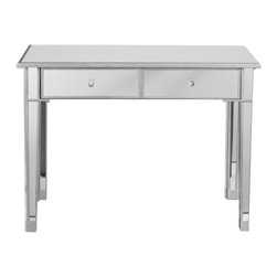 Holly & Martin - Montrose Mirrored 2-Drawer Console Table - This compact mirrored console can make itself at home in any room, gladly tucking away trinkets while magnifying the impact of a colorful vase of flowers perched atop it's reflective surface.