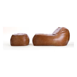 Lounge Chair and Ottoman in Rust Leather - Slow the pace and scout out your own private spot for laziness in the privacy of the backyard. Make the settee your outdoor headquarter for a day of reading and sneaking in a nap. Lounging on the couch has been taken to a whole new level. This versatile accent chair has many forms of use. The leather bean bag chair is extremely lightweight and can be easily transported from room to room. This leather beanbag chair also has a child-safe locking double zipper on the bottom.