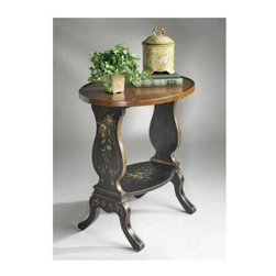 Butler - Round Black Accent Table with Distressed Cherry Finished Top - This beautiful accent table is both stylish and functional. The back finish features a hand painted design on each side, and a contrasting distressed cherry veneer top. A lower shelf is perfect for added storage or display, and also features the floral pattern