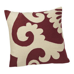 Crewel Fabric World - Crewel Pillow Graphic White on Red Cotton Duck 20x20 Inches - Abstract leaves and bold geometrics give our pillows the impact of an art piece. Thousands of tiny crewel stitches are hand worked in acrylic on cotton to create the scrolling pattern of the ivory cotton-backed Graphic Crewel pillow cover.