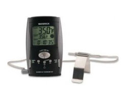 Maverick - Digital BBQ Thermometer Black - Digital Barbecue Thermometer in Black with High Heat Probe and Wire withstands up to 700 degrees F (371 degrees C). This thermometer is a must for the gas grill. The Maverick DIGITAL BARBEQUE THERMOMETER lets you know the constant average temperature inside your barbeque throughout the cooking pro Stainless Steel. What's more, it recalculates this average every 10 seconds, and compares it to the temperature target you have preset. It then alerts you if the temperature swings more than 15 degrees F (9C) above or below your target temperature. It updates this average every 10 seconds. The DIGITAL BARBEQUE THERMOMETER measures the temperature by using a probe sensor with grill rack clip and an insulated metal wire that passes between the grill-hood and leads back to the unit. Grill knobs or air vents don't have very accurate temperature settings and when you open and close the hood the temperatures can vary up to 100 degrees F (55 C) from the temperature you think you set on the dial. Some grill hoods have analog thermometers but they are not at the grill surface, and they are not as accurate as digital. If you don't know your temperature, barbeque results can be poor. Terrific for proper cooking of roasts and poultry, too. Also features 20-hour count-up or countdown timer. Detachable stand for countertop use, hanging bracket for wall, and has magnets on back for sticking to metal surfaces. Single AAA battery included.