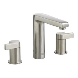 American Standard - American Standard 2590.801.295 Studio Two-Handle Lavatory Faucet, Satin Nickel - American Standard 2590.801.295 Studio two handle Widespread Lavatory Faucet with Brass Spout, Satin Nickel. This widespread bathroom faucet features a brass construction, a ceramic disc valve cartridge, an adjustable hot limit safety stop, a lead-free composition, and a Speed Connect metal drain with fewer parts and an easier installation.