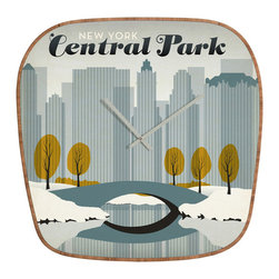 Central Park Retrospective Wall Clock - Functionality meets playful design with the Central Park Retrospective Wall Clock. Its frame is made entirely from eco-friendly bamboo, while the front is high-gloss aluminum that's UV resistant. This fun piece keeps time while adding refreshing style to any space in your home or office.